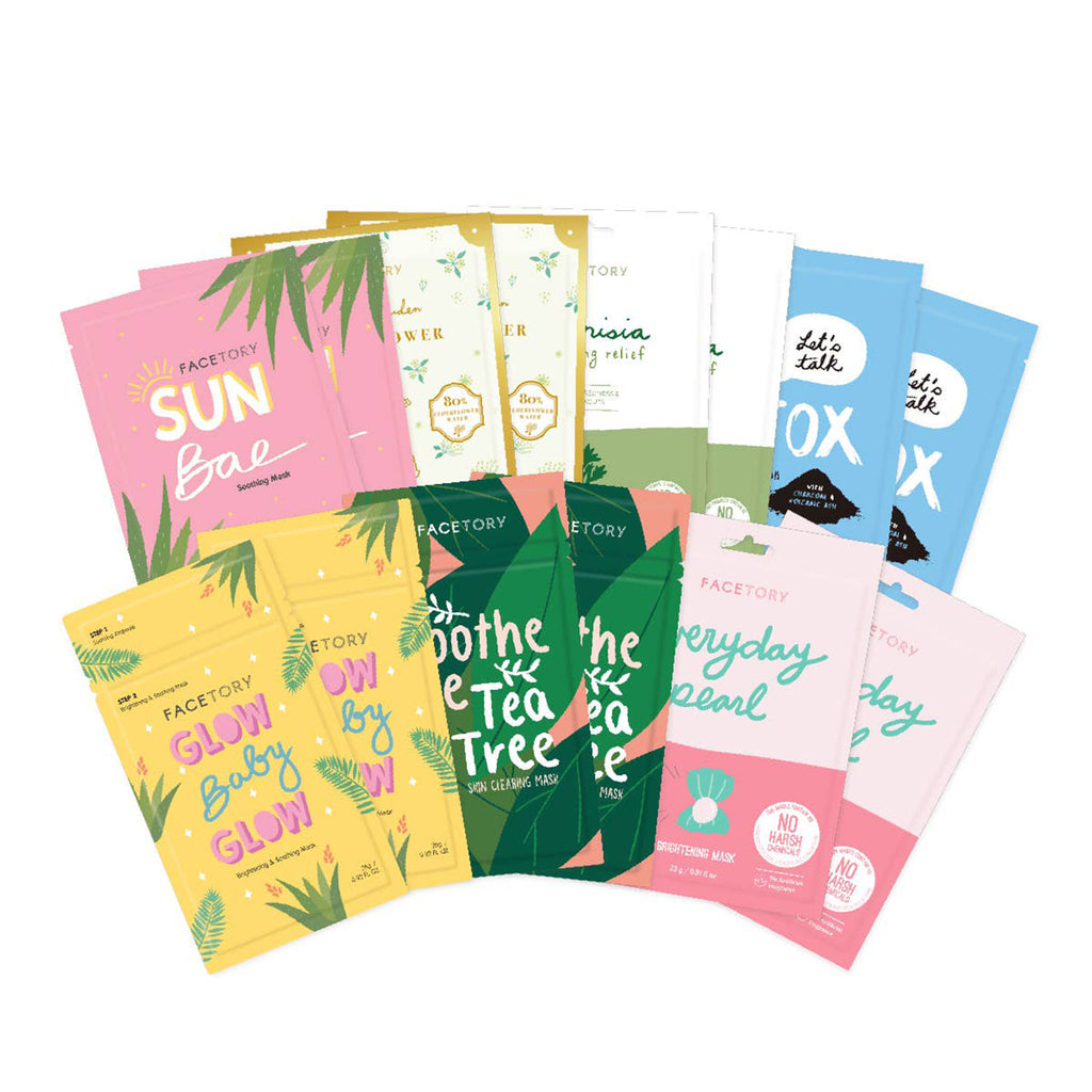 facetory summer season sheet face mask essentials bundle contents