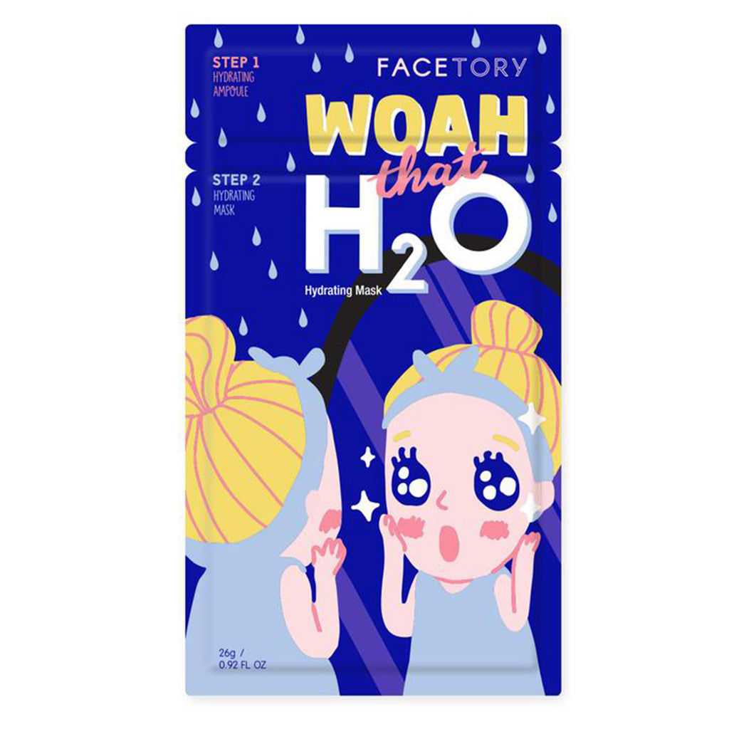 facetory woah that h2o hydrating ampoule and sheet face mask packaging front