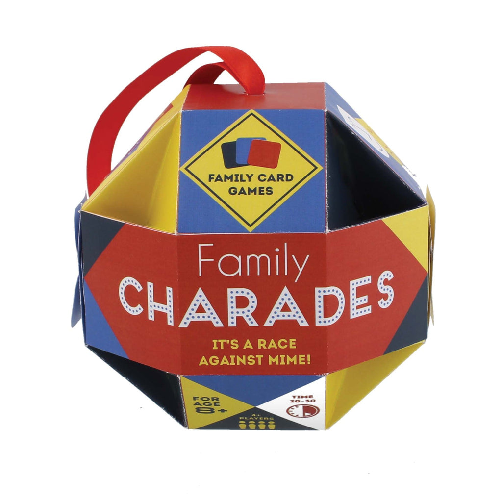 family charades game packaged in multicolored paper bauble with red ribbon hanger
