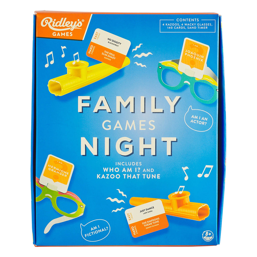 family games night set in blue box with kazoos and glasses