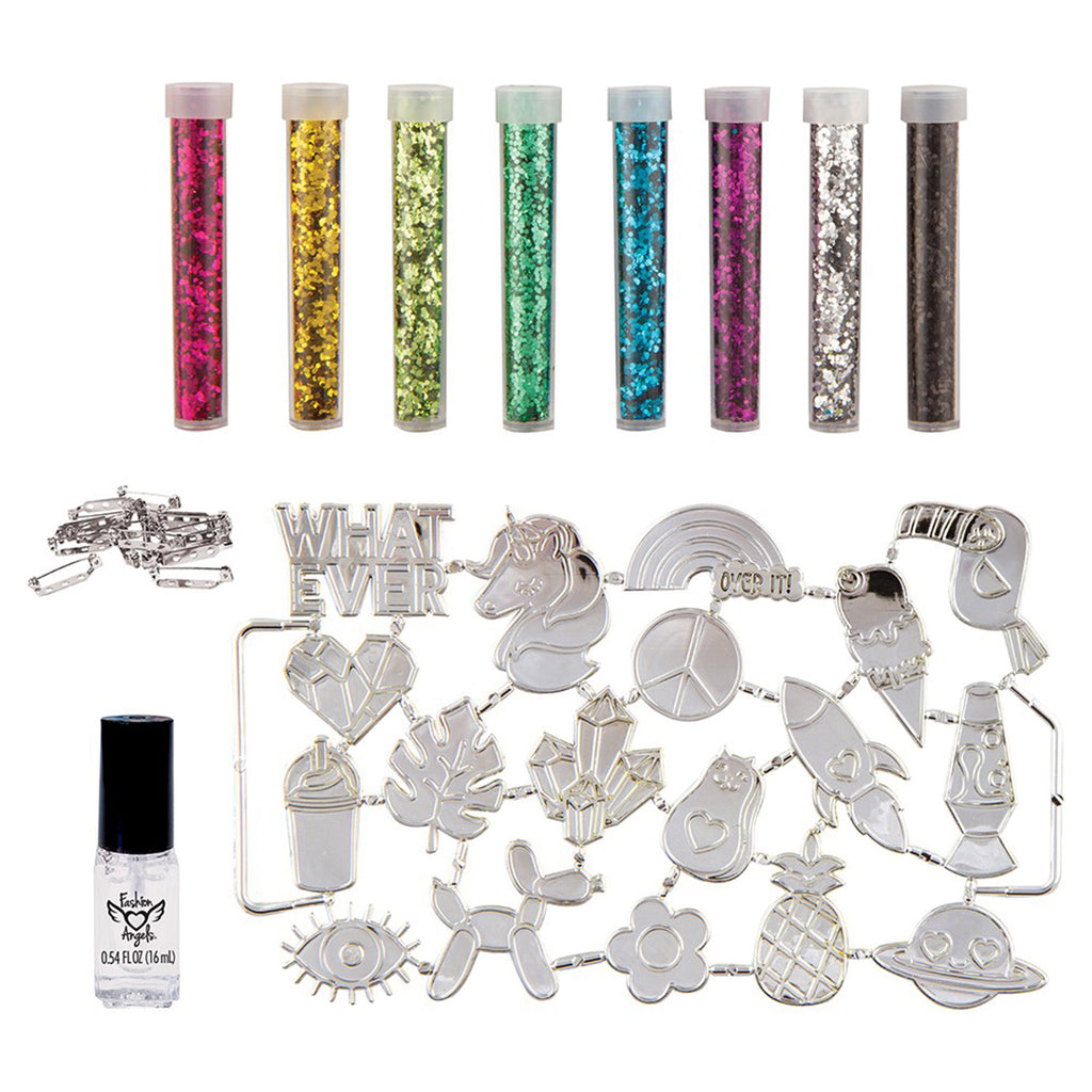 fashion angels born to sparkle glitter pin design kit kids diy craft box contents