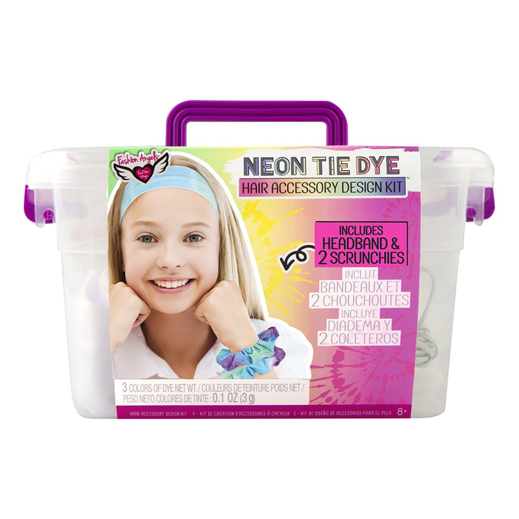fashion angels neon tie dye hair accessory kit headband scrunchies kids diy craft keeper crate front