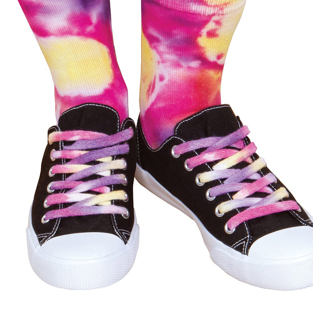 fashion angels neon tie dye accessory design kit socks shoelaces kids diy craft keeper crate finished design