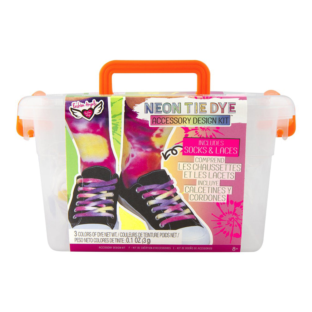 fashion angels neon tie dye accessory design kit socks shoelaces kids diy craft keeper crate front