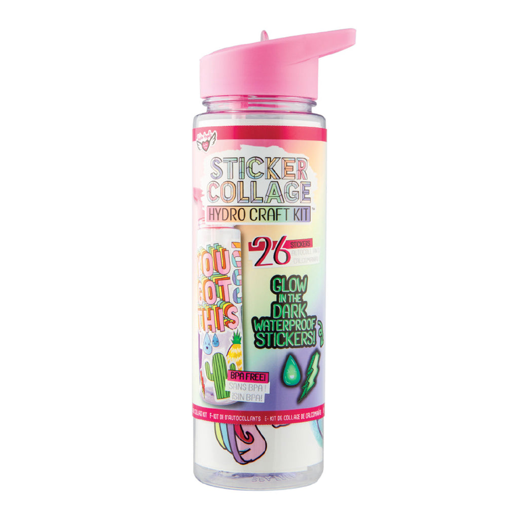 fashion angels sticker collage hydro-craft water bottle craft kit diy kids tumbler front