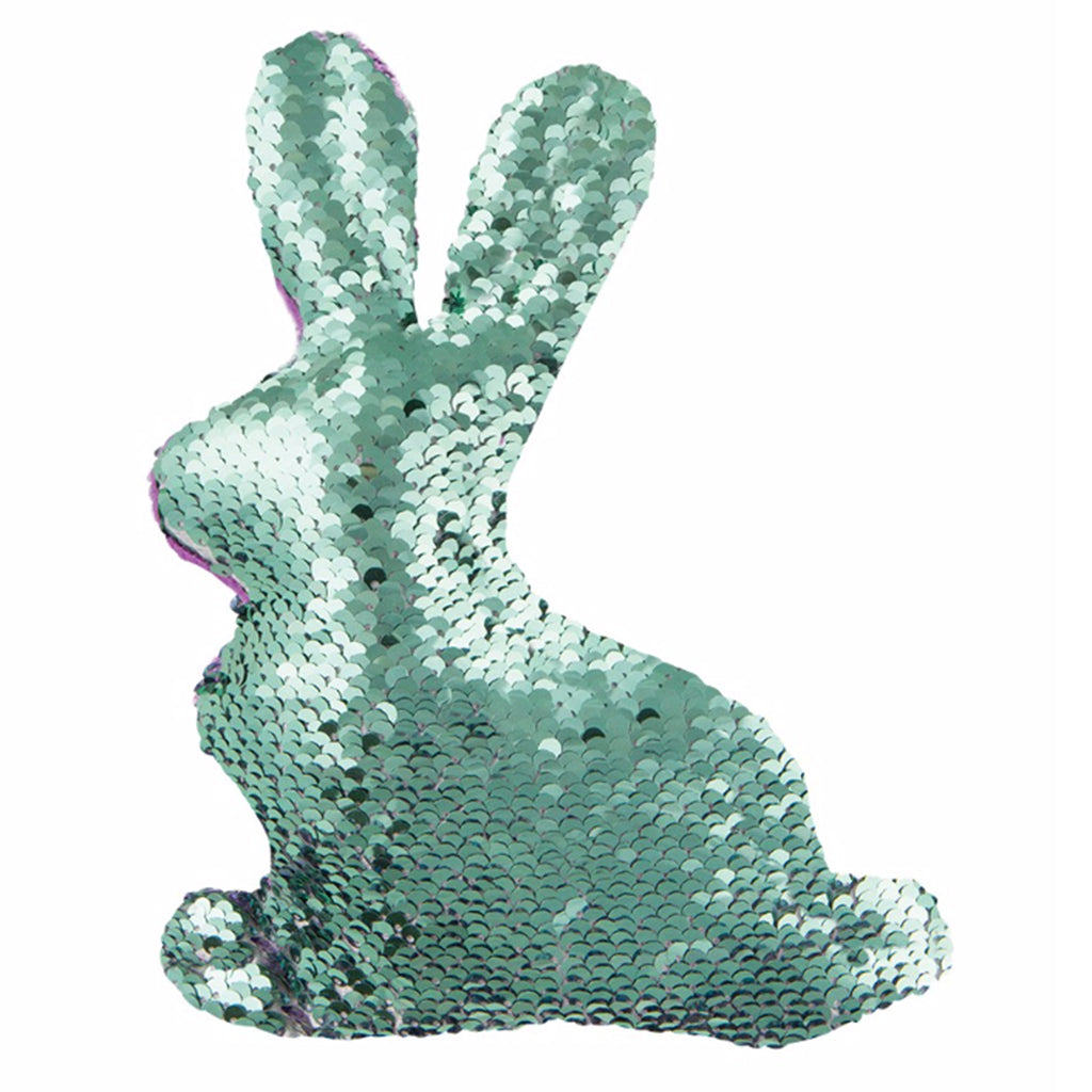 magic sequin plush bunny front green