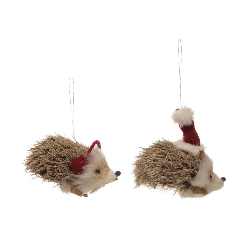faux fur hedgehog ornament with hat or earmuffs