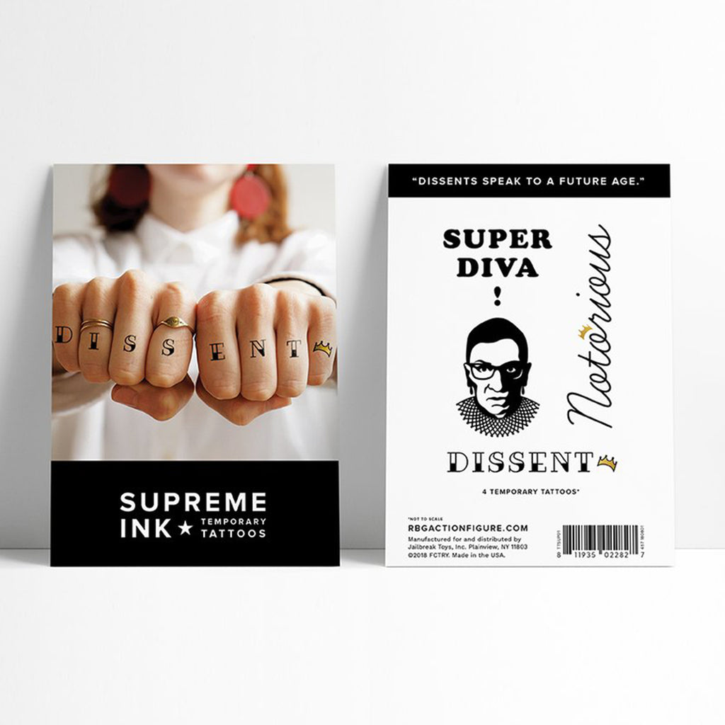 rbg supreme ink temporary tattoos packaging