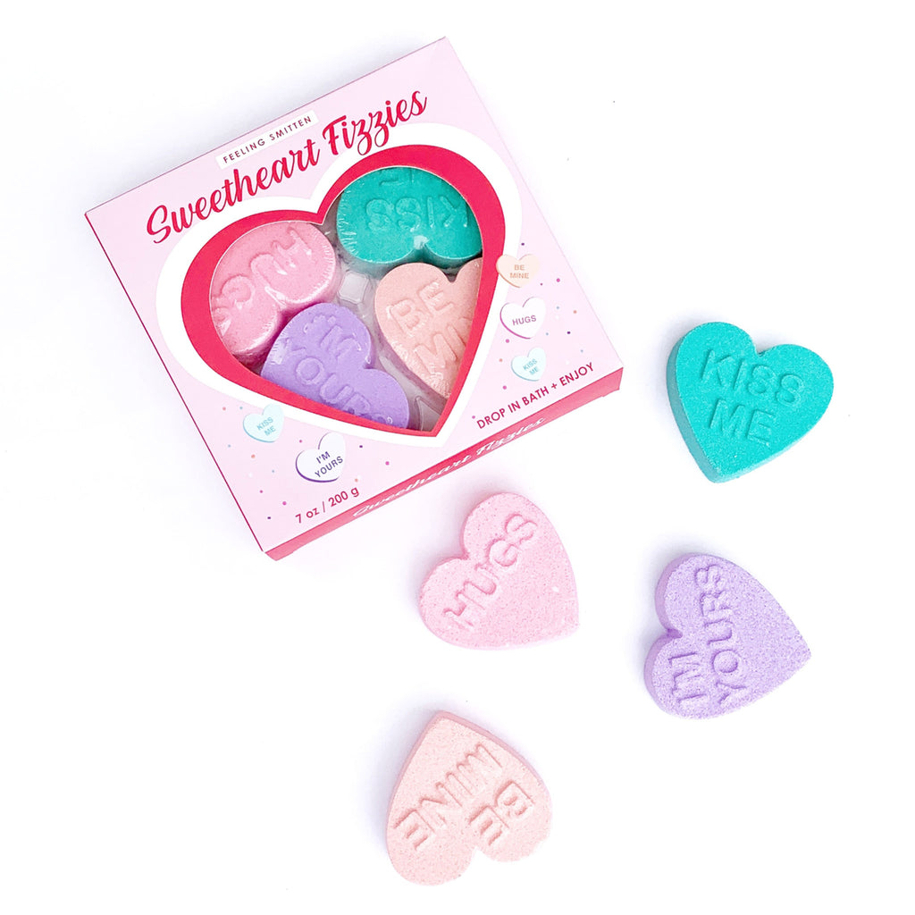 feeling smitten sweetheart fizzies heart-shaped scented bath bombs packaging front