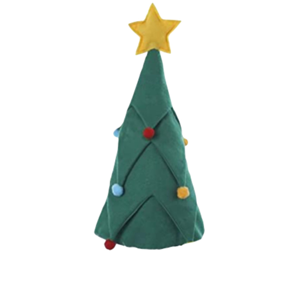 felt hat in the shape of a christmas tree with star topper