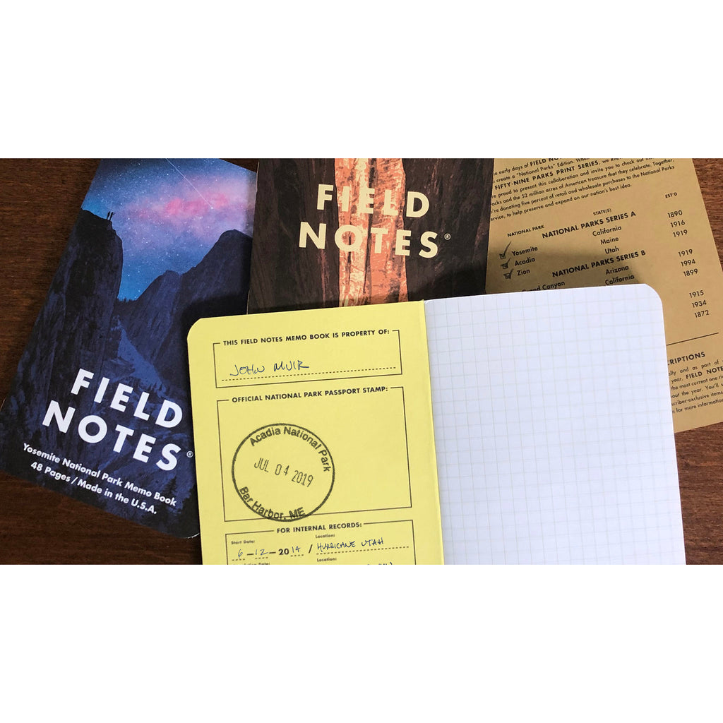 field notes national parks memo books inside pages