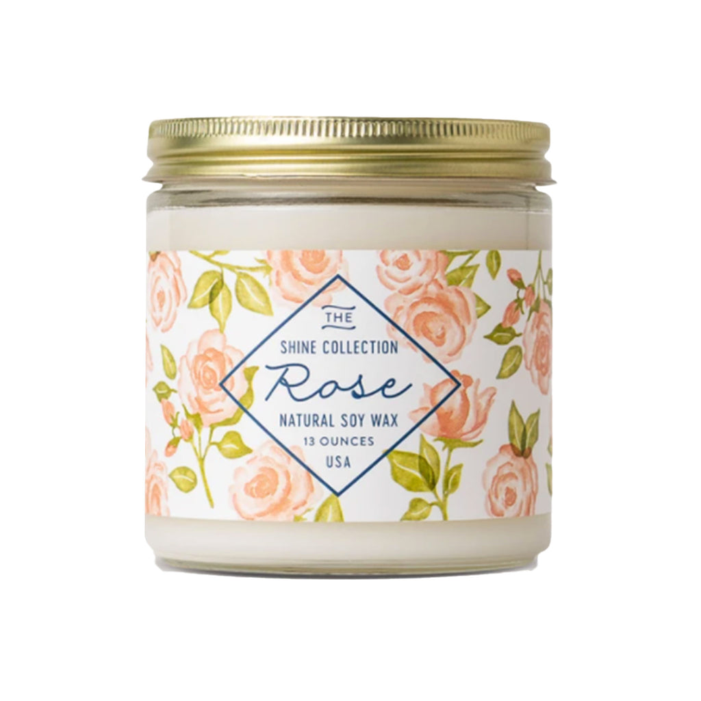 finding home farms 13 ounce shine collection rose scented natural soy wax candle in jar with lid