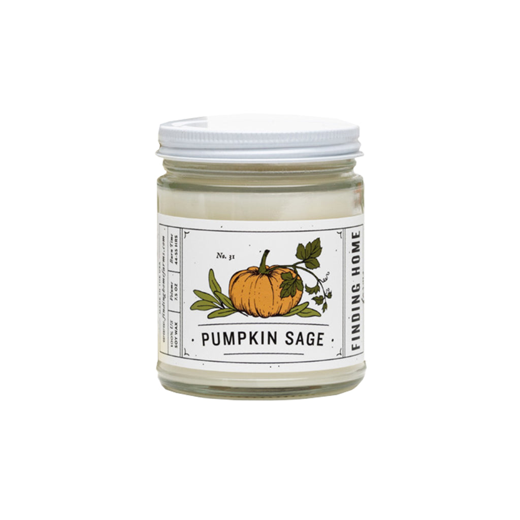 finding home farms pumpkin sage scented soy candle in glass jar with lid
