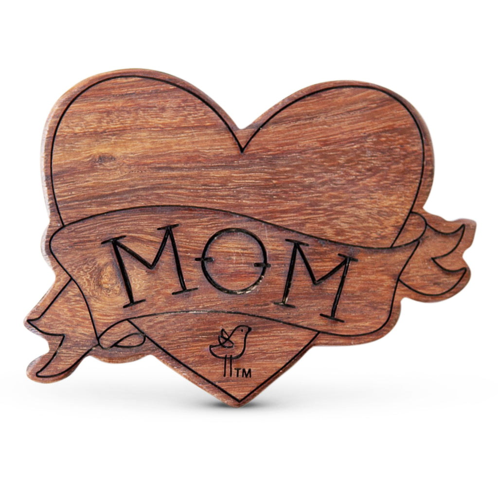 mom heart tattoo wood rattle teether
