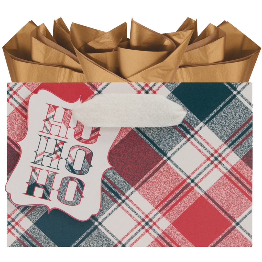 small kraft paper gift bag in red and green flannel plaid pattern