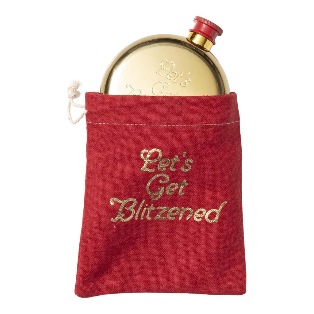 floor 9 lets get blitzened stainless steel gold finish flask coming out of red drawstring bag