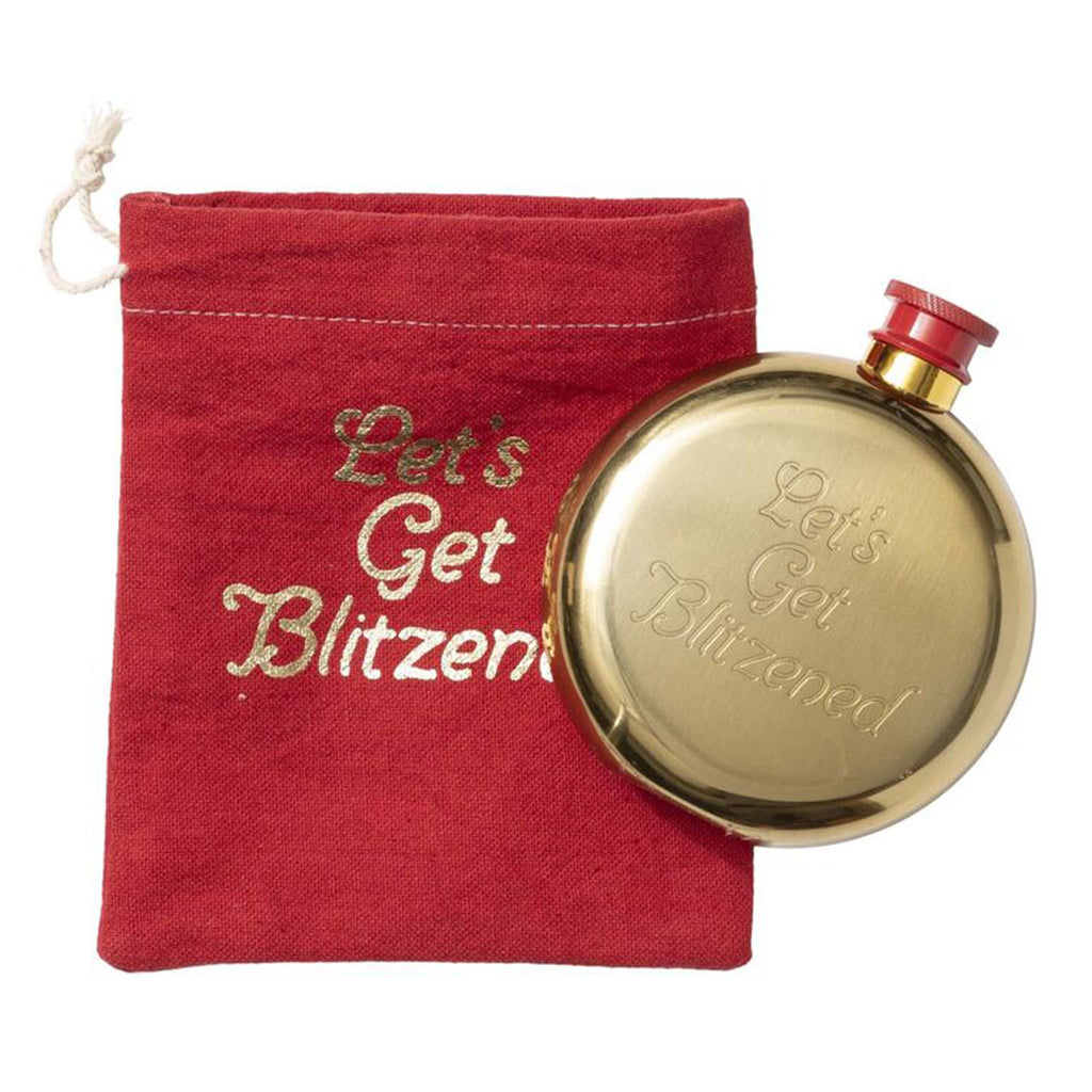 floor 9 lets get blitzened stainless steel gold finish flask with red drawstring bag