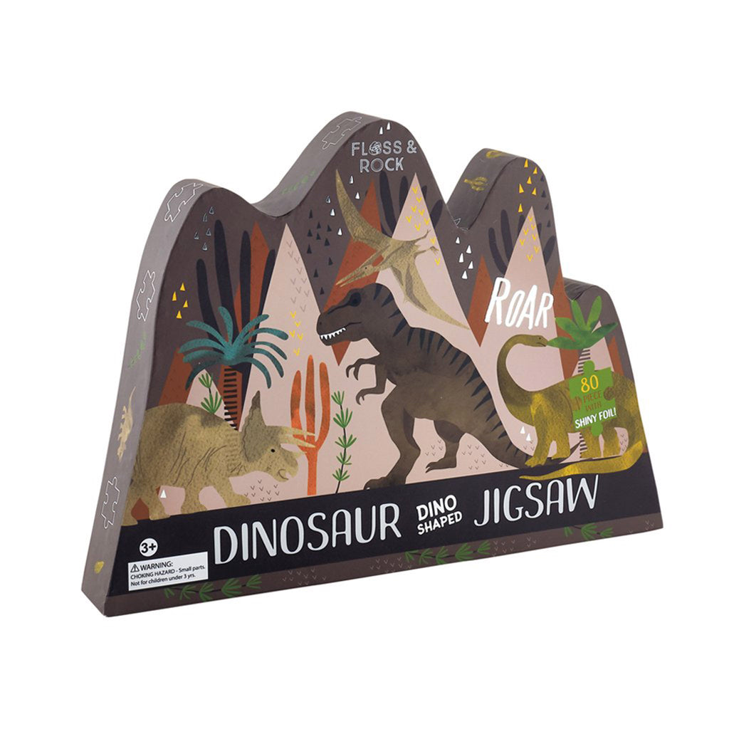 floss and rock 80 piece dinosaur shaped jigsaw puzzle box front