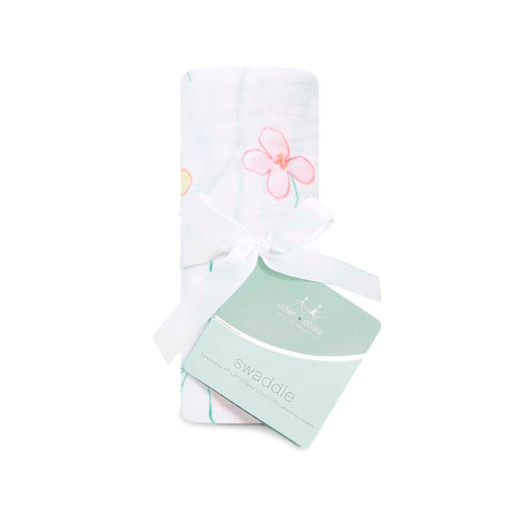 white swaddle with pastel flowers