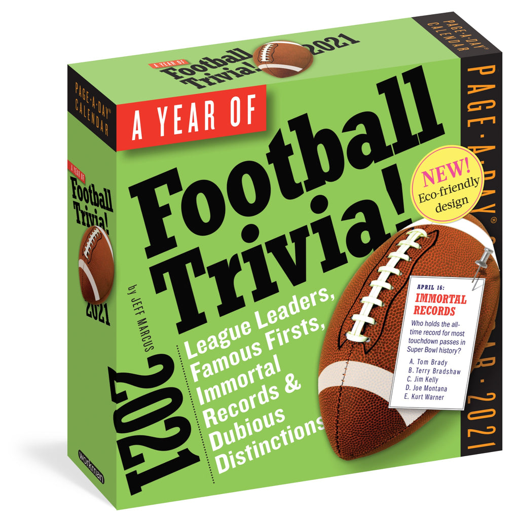 football trivia 2021 page a day calendar in green box with football illustration and black and white text