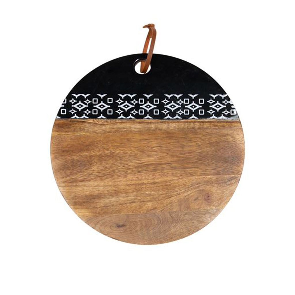 foreside black geo round wood cutting board