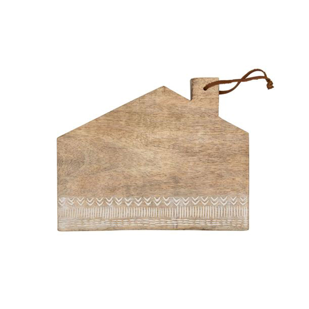 foreside house mango wood cutting board with leather tie