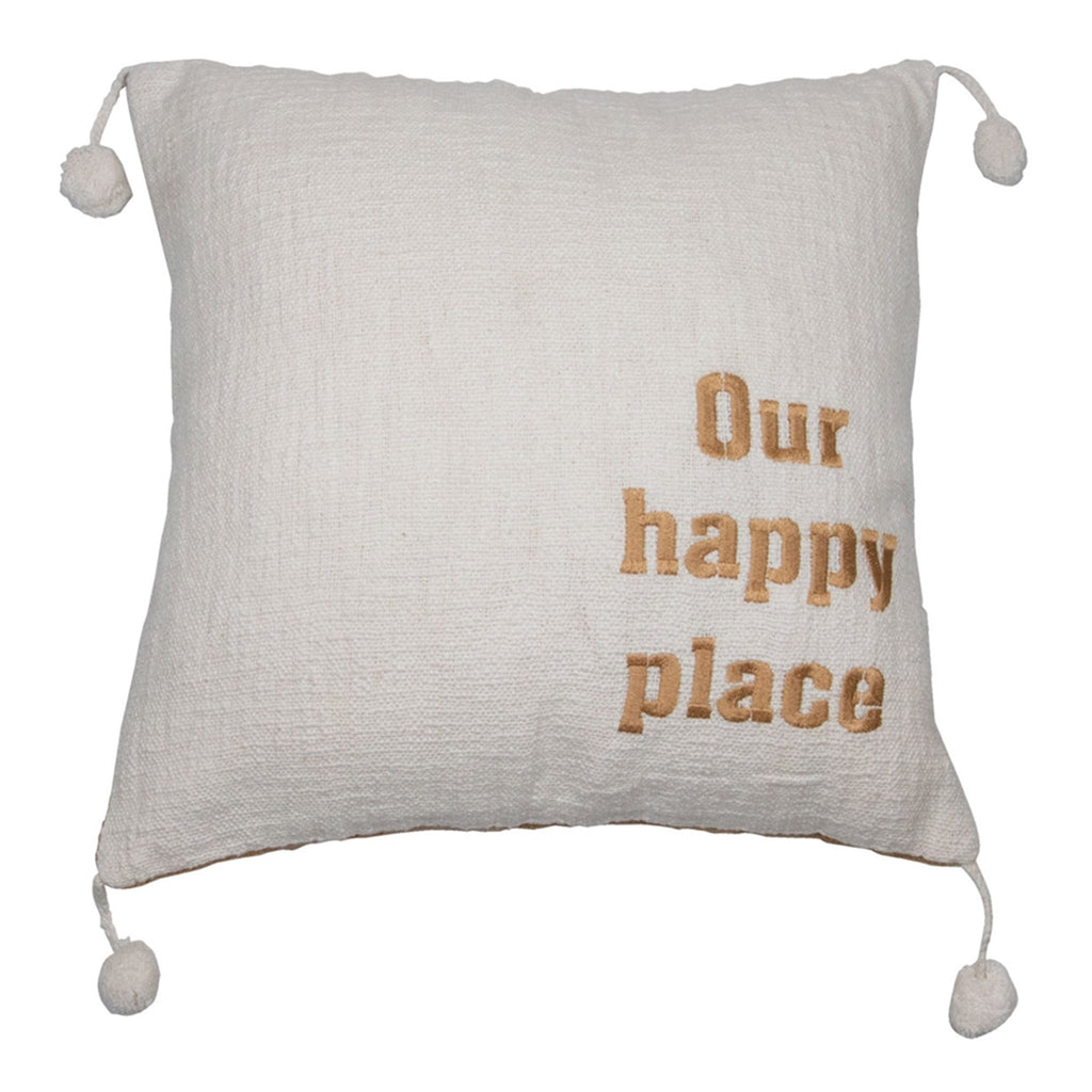 our happy place white with gold lettering decorative throw pillow front