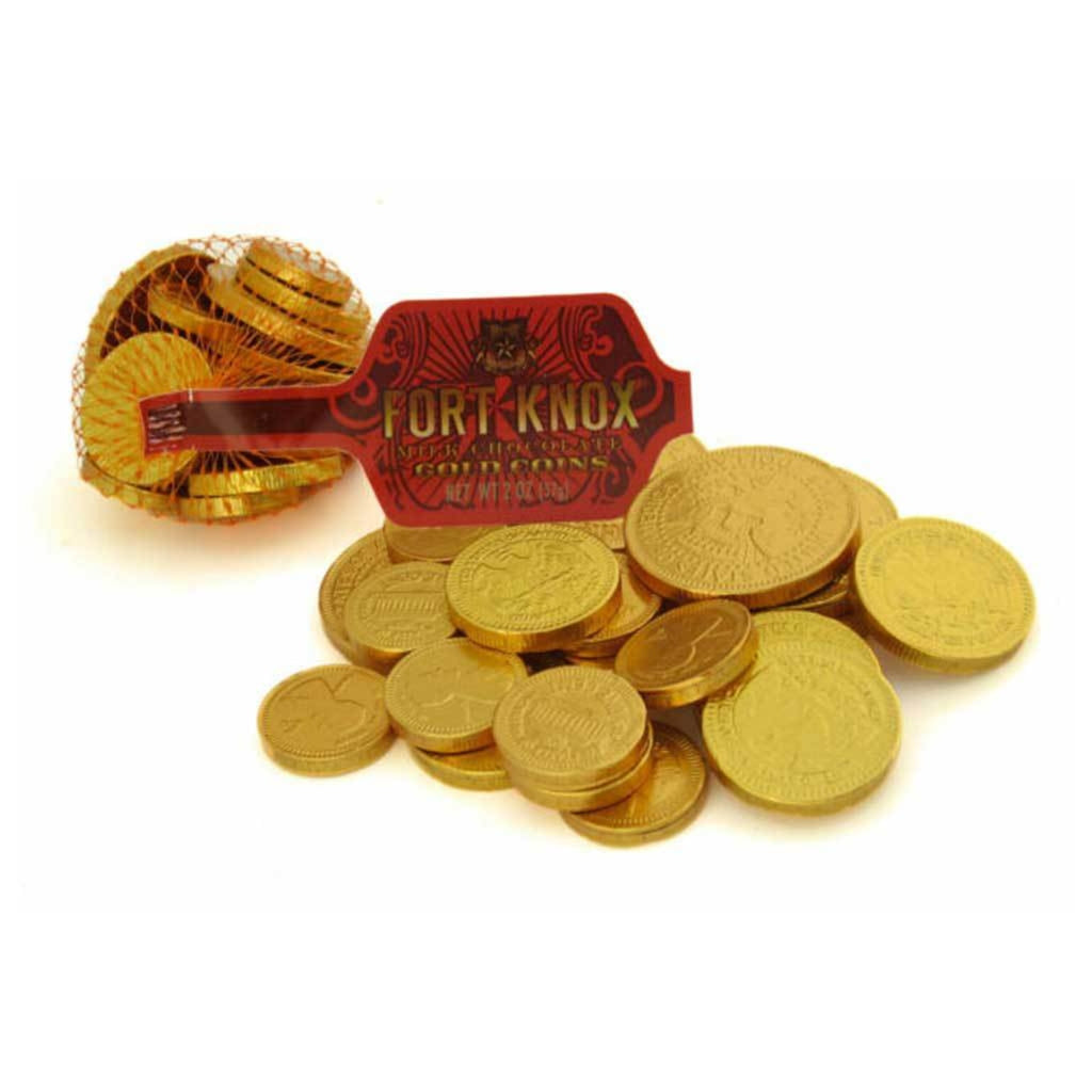"gold foil wrapped chocolate coins in a red mesh bag with red tag reading ""Fort Knox"""