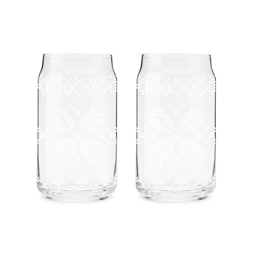 nordic knit design pint glasses empty
