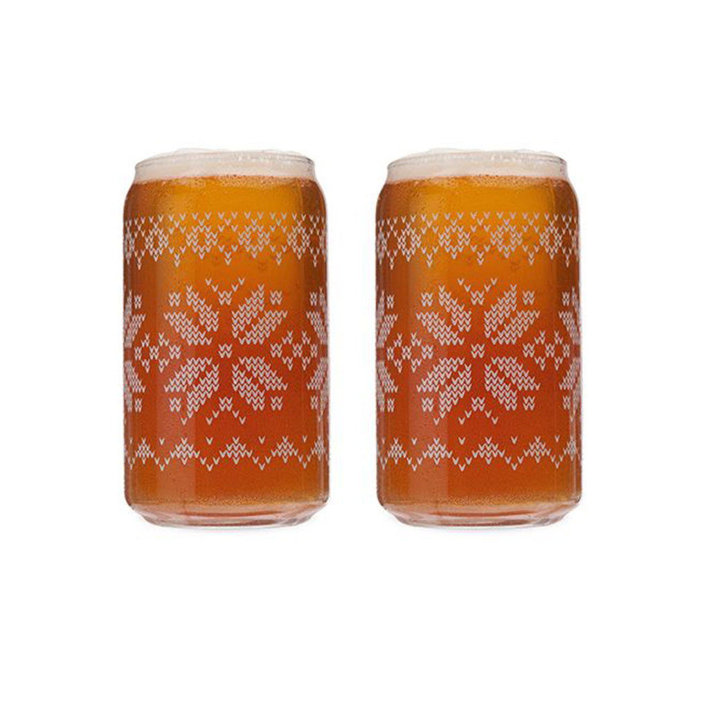 nordic knit design pint glasses with beer