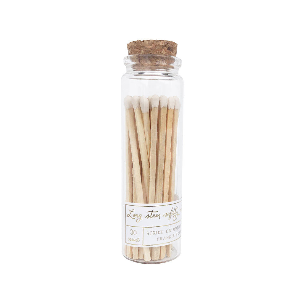 frankie and claude long stem white safety matches in strike-on bottle