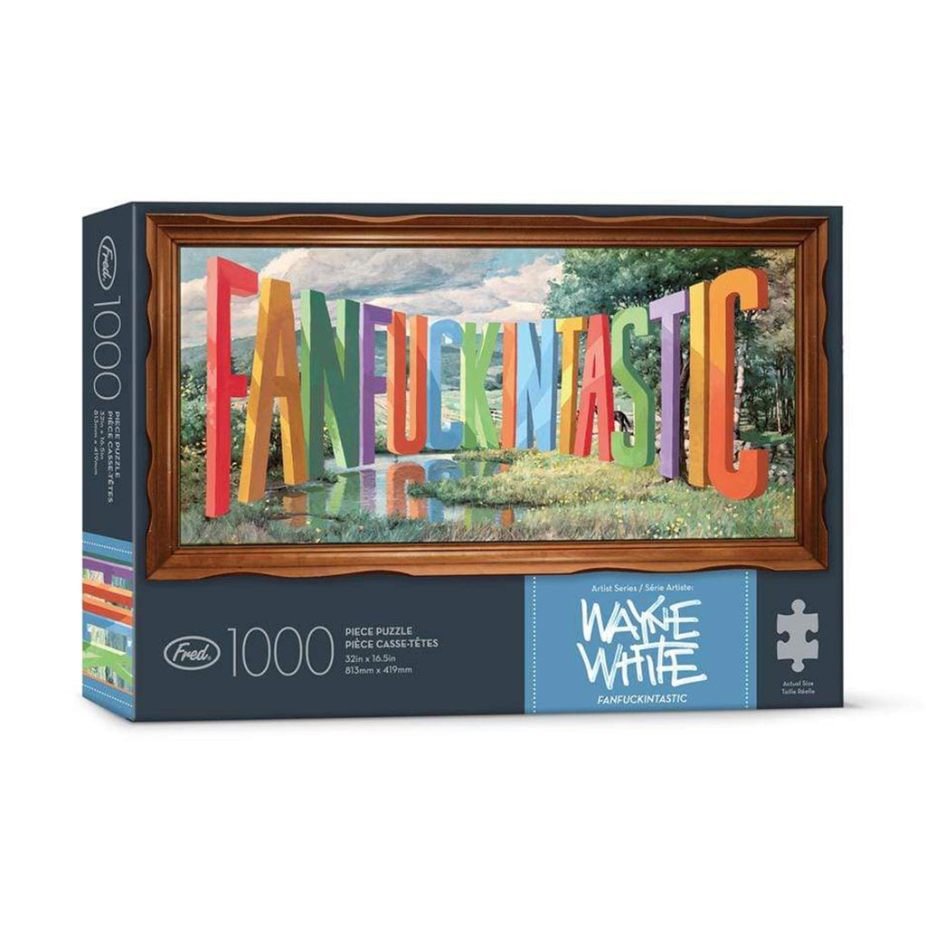 genuine fred 1000 piece fanfuckintastic adult jigsaw puzzle with artwork by wayne white in packaging front on angle