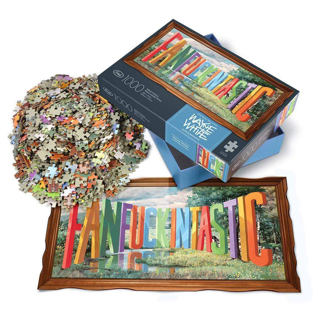 genuine fred 1000 piece fanfuckintastic adult jigsaw puzzle with artwork by wayne white in packaging with insert and pieces