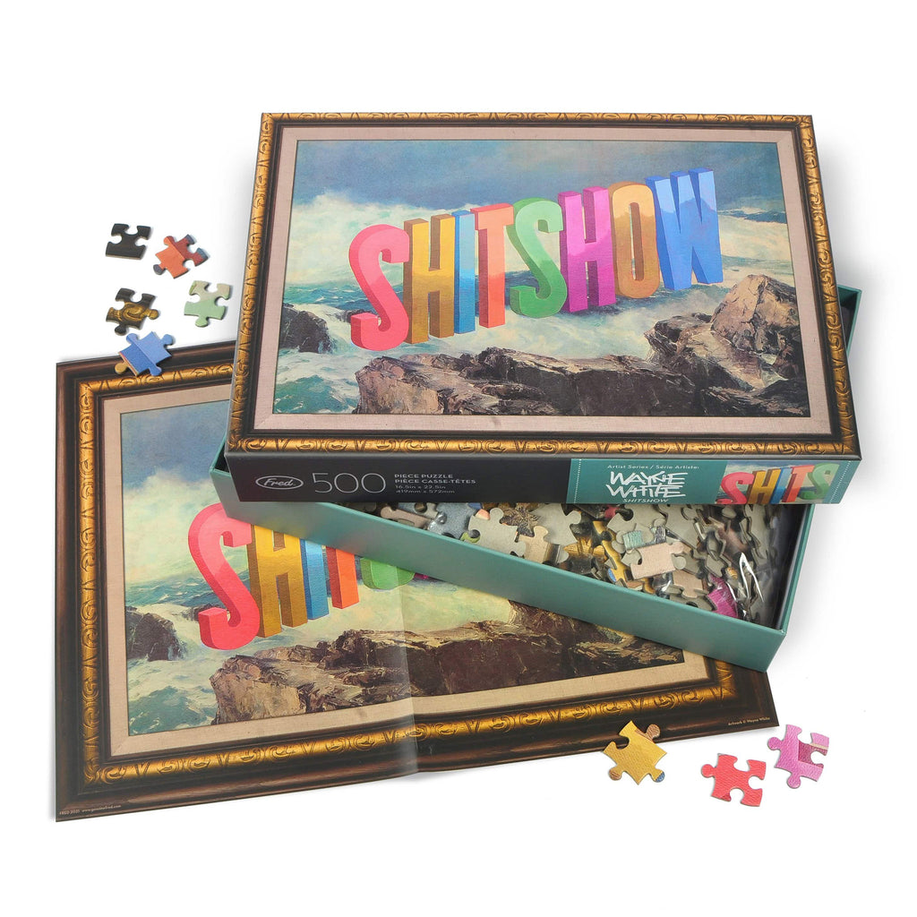 genuine fred 500 piece shit show adult jigsaw puzzle with artwork by wayne white packaging with insert and pieces