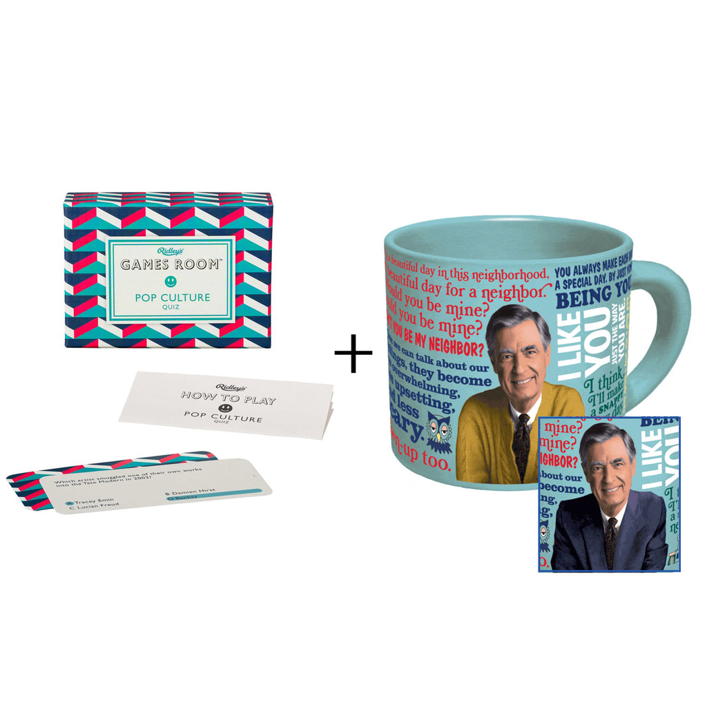 friendly pop quiz gift box with pop culture quiz and color changing mister rogers ceramic mug