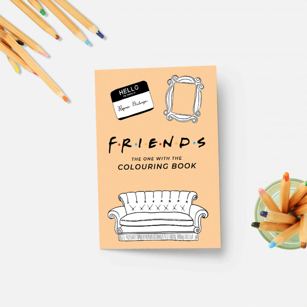friends coloring book in tan with illustration of frame, sofa, and hello name tag with Friends TV show logo