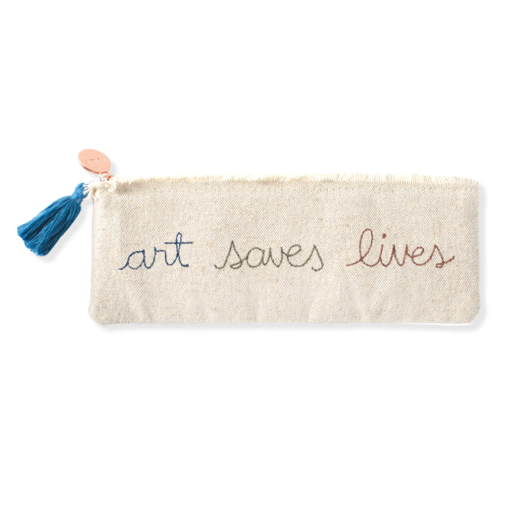 fringe studio art saves lives zipper cotton canvas embroidered pouch front