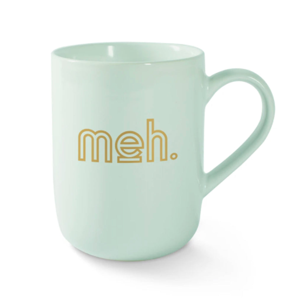 fringe studio meh mint green ceramic coffee mug with gold lettering back