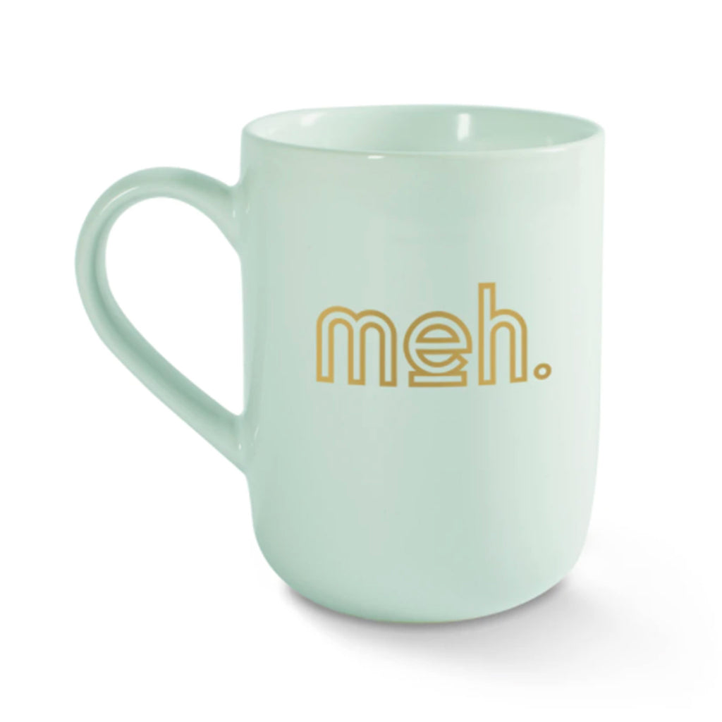 fringe studio meh mint green ceramic coffee mug with gold lettering front