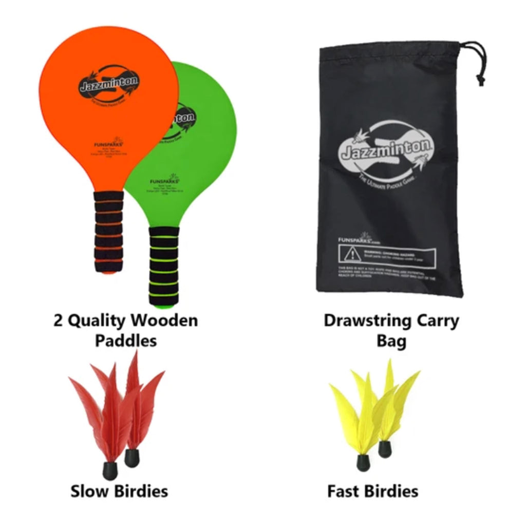 funsparks standard jazzminton indoor or outdoor paddle racquet game set contents