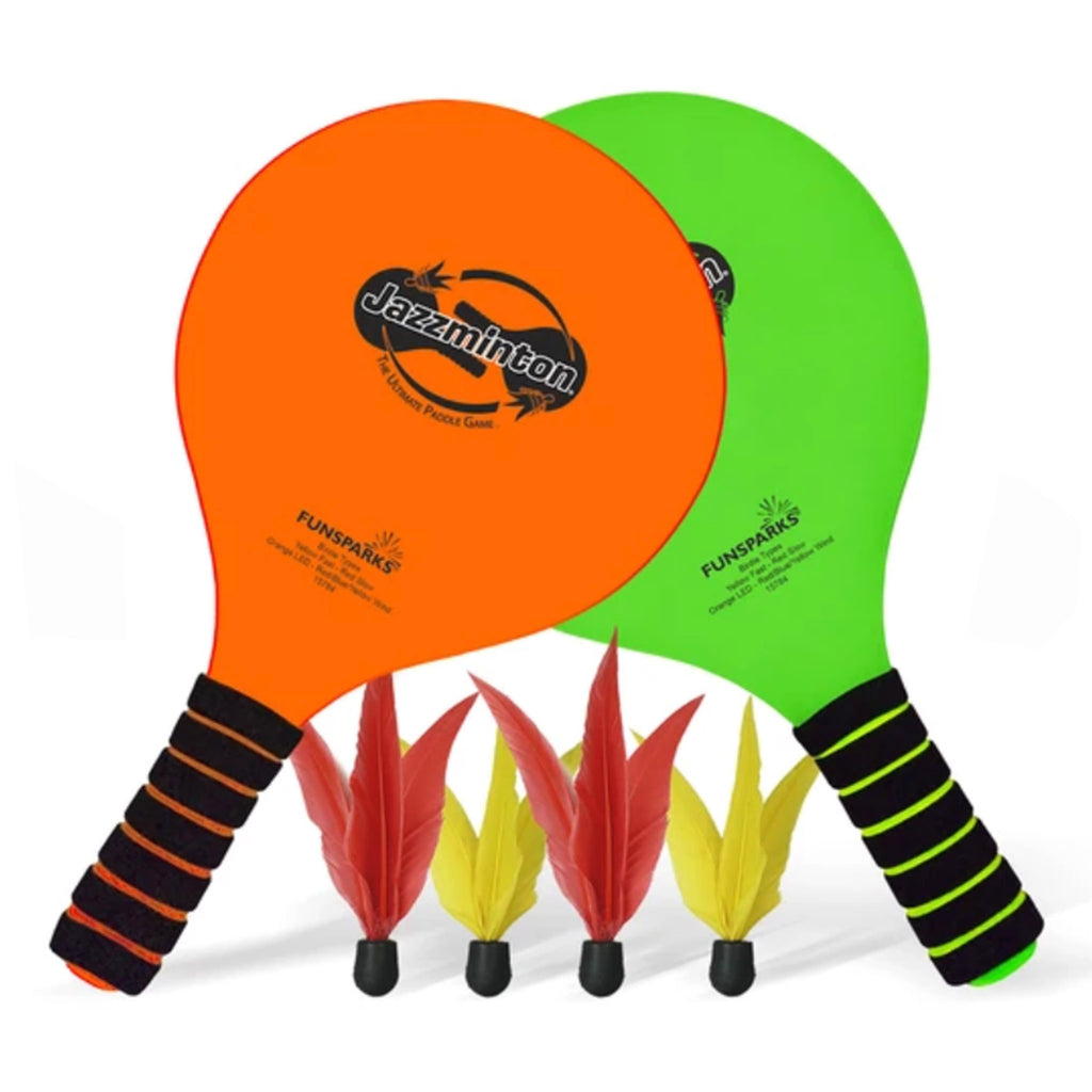 funsparks standard jazzminton indoor or outdoor paddle racquet game set