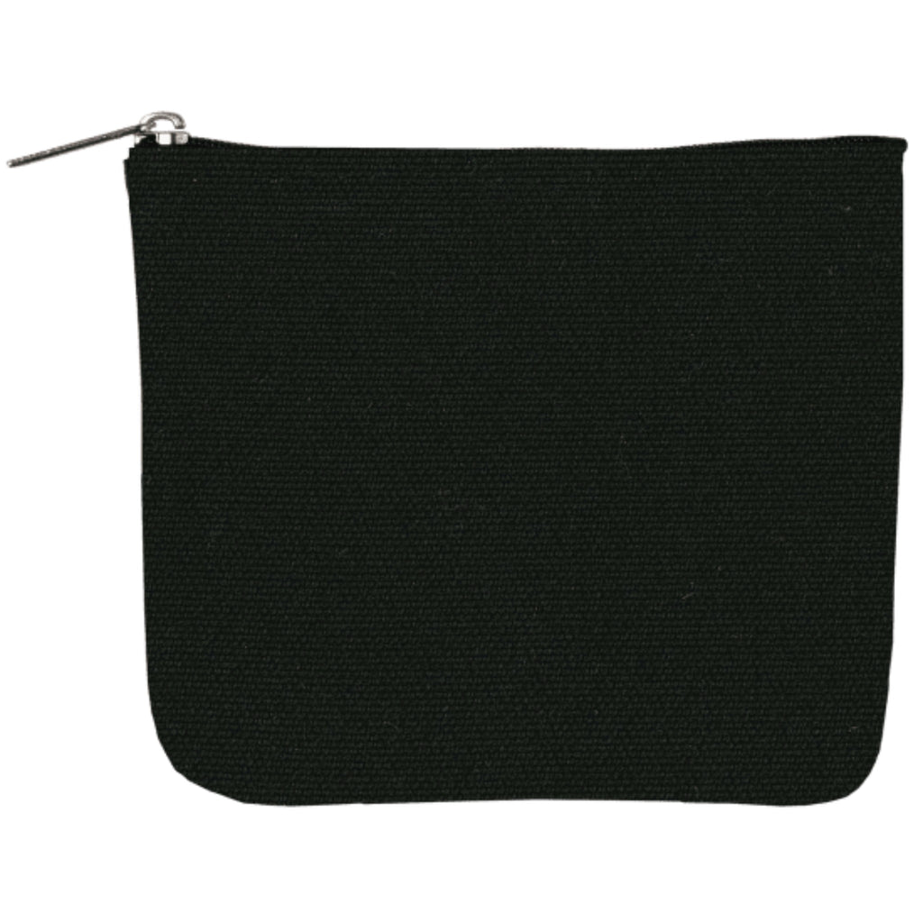 black canvas pouch with zip closure