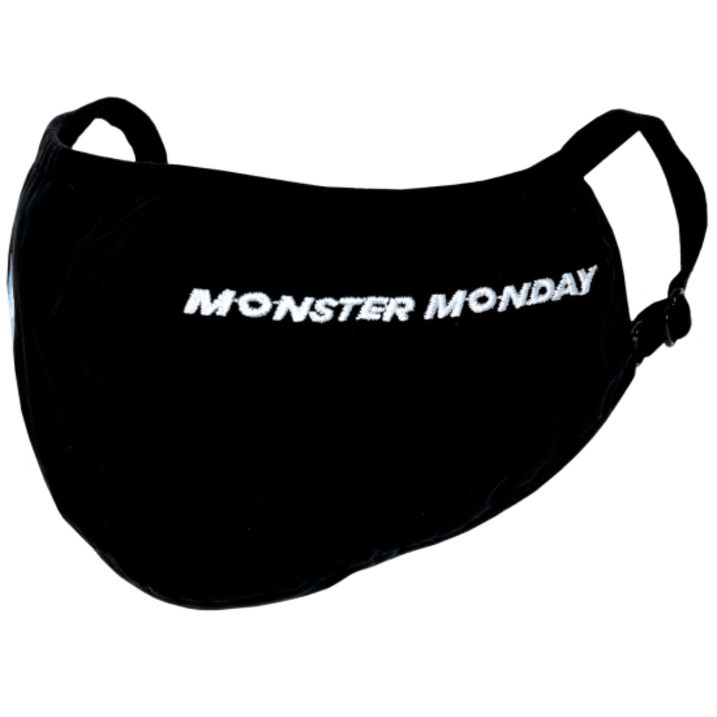 "black face mask with the words ""monster monday"" embroidered in white"