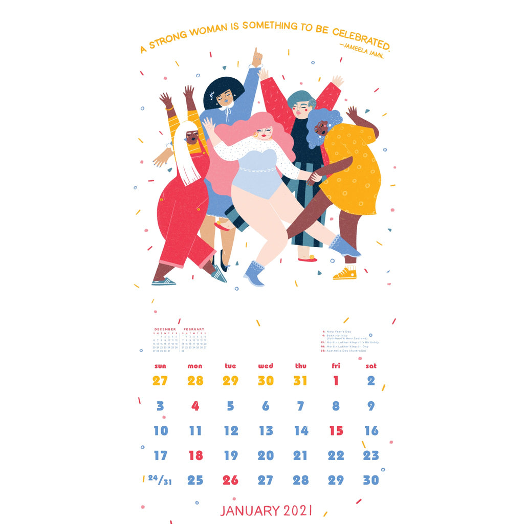 sample page of future is female calendar with illustration of women dancing