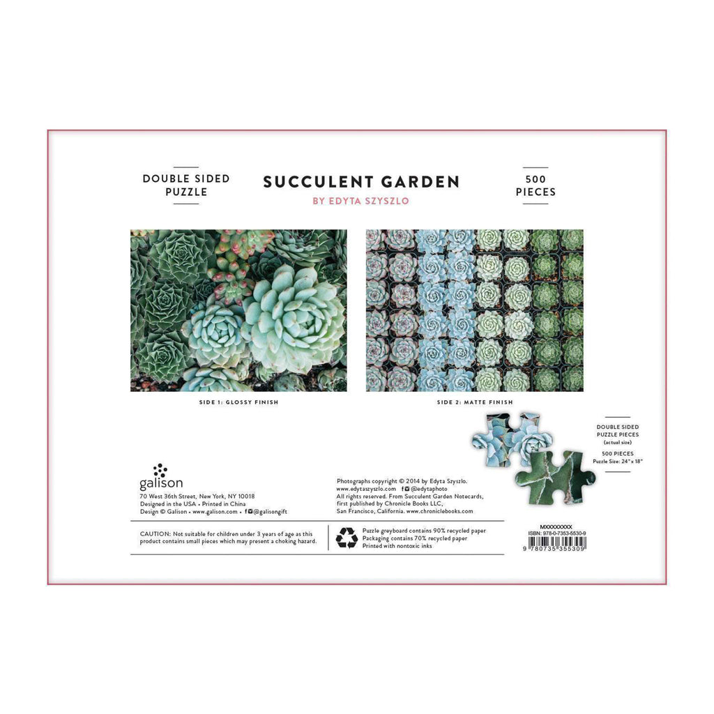 galison 500 piece double sided succulent garden jigsaw puzzle box back