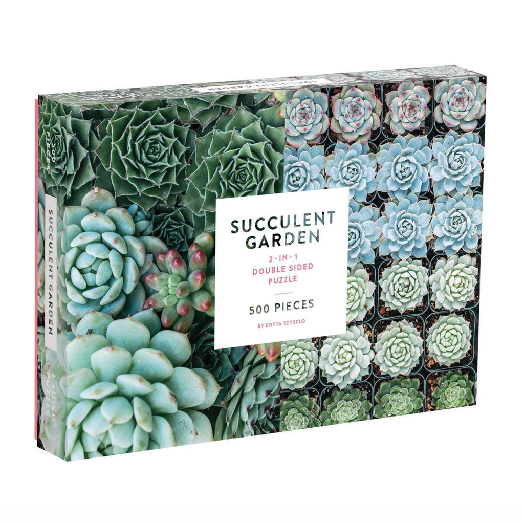 galison 500 piece double sided succulent garden jigsaw puzzle box front angle