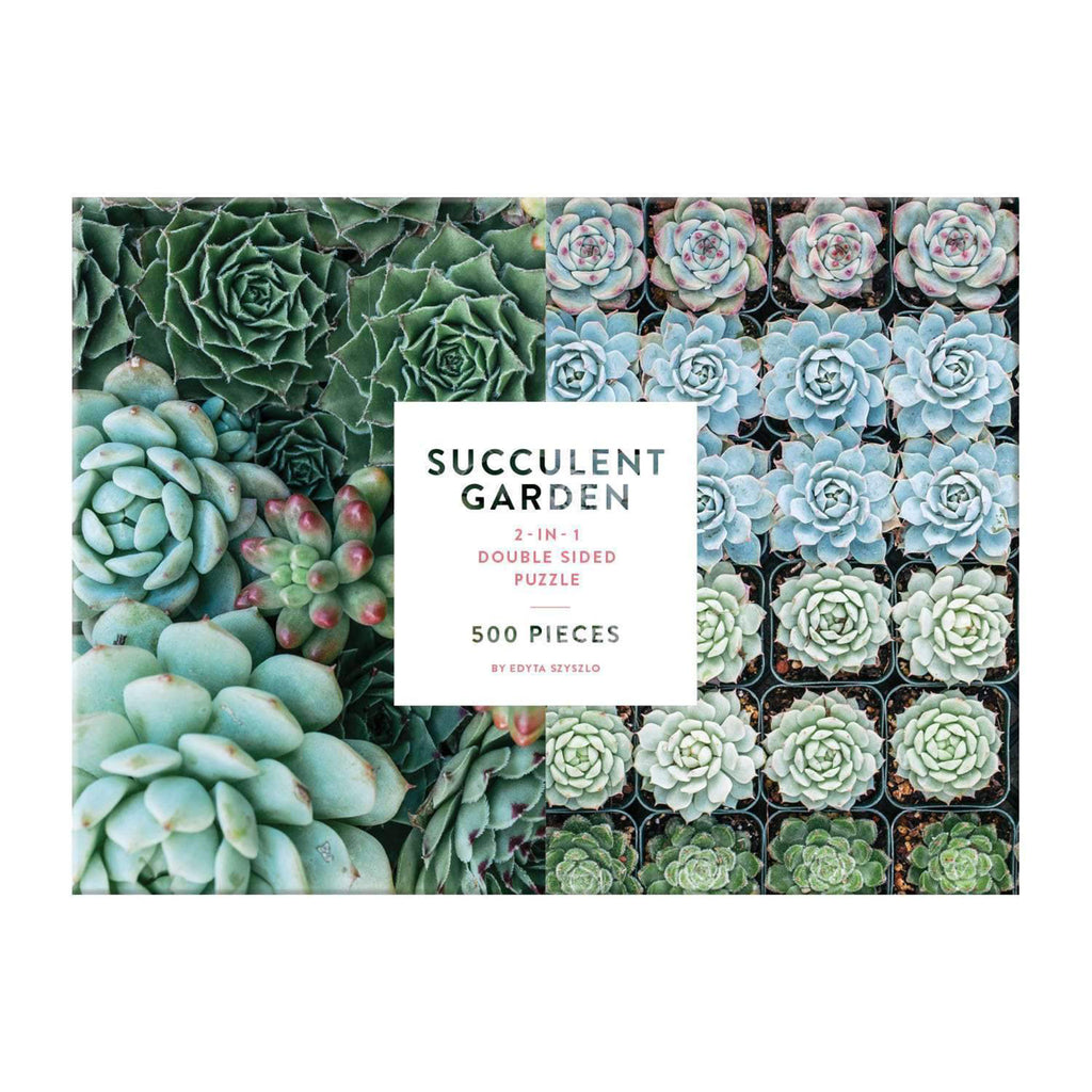 galison 500 piece double sided succulent garden jigsaw puzzle box front straight on