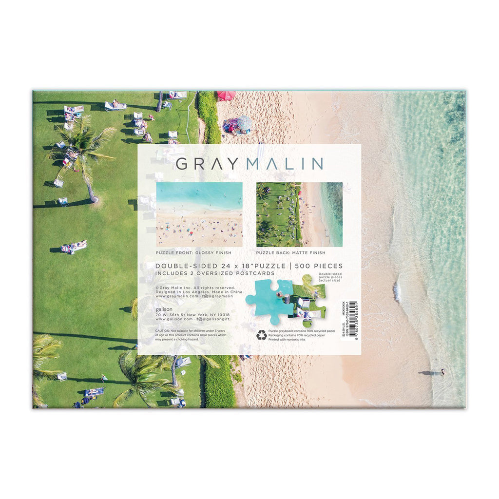 galison 500 piece gray malin hawaii double sided jigsaw puzzle box back