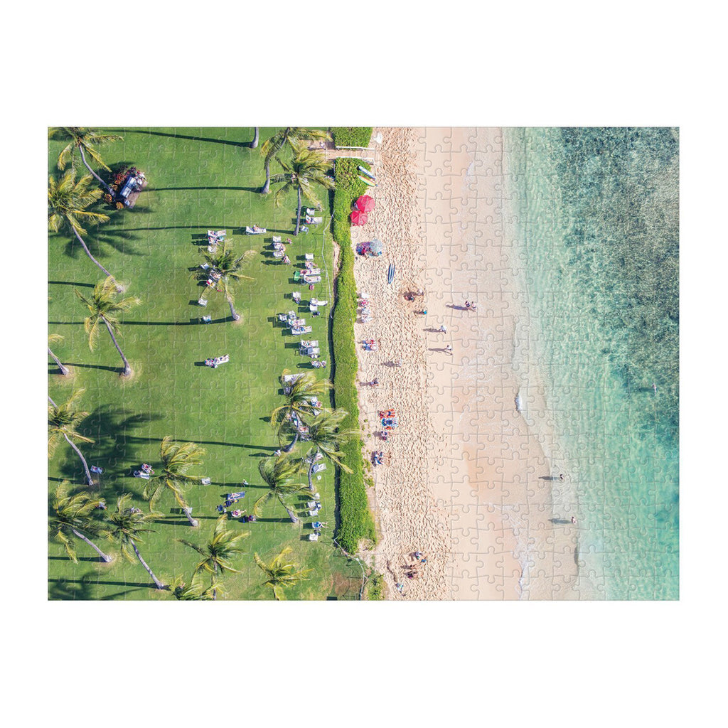 galison 500 piece gray malin hawaii double sided jigsaw puzzle grassy matte side complete