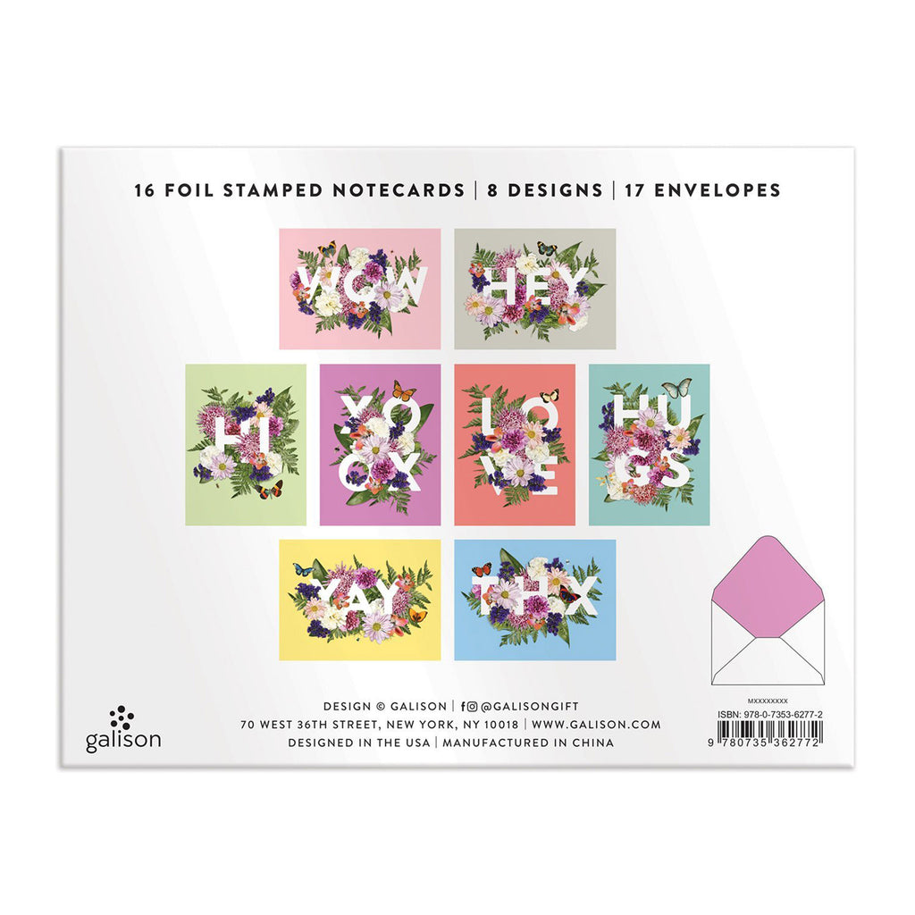 galison say it with flowers greeting assortment notecard box back cover with all card styles shown